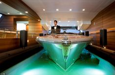 Glide in: The internal basin floods and empties 18,000 litres of water in just three minutes, allowing the boat to enter the yacht without the use of a crane