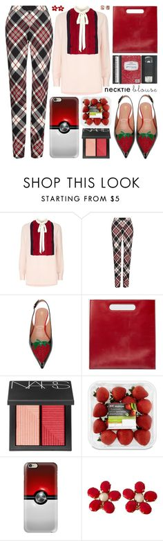 """""""Fall Trend: Necktie Blouse"""" by barbarela11 ❤ liked on Polyvore featuring Valentino, Alexander McQueen, RED Valentino, Gucci, NARS Cosmetics, Casetify, Schreiner and Carolee"""