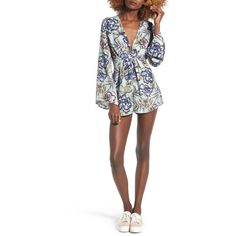 Women's Lush Floral Print Romper ($49) ❤ liked on Polyvore featuring jumpsuits, rompers, mint floral, floral print romper, bell sleeve romper, white romper, floral romper and floral bell sleeve romper