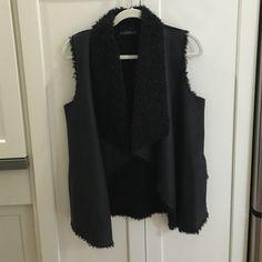 "Velvet brand Black Sherpa Vest, P/XS Velvet brand ""Mavis Urban Sherpa Vest"".  Color black.  Soft faux suede on outside, sherpa on inside as well as draped open placket and pocket lining.  Size P/XS. Velvet Jackets & Coats Vests"