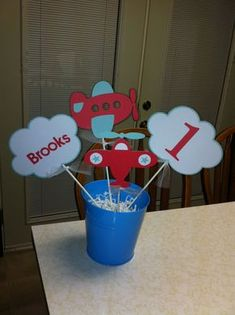 Airplane centerpiece, Airplane highchair banner, Airplane I am 1 banner, Airplane birthday banner, Airplane party, Airplane decorations by MindysPaperPiecing on Etsy