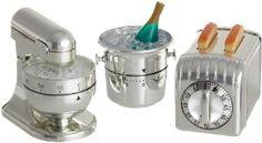 Cute metallic kitchen timers!