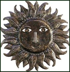 "Handcrafted Sun Design Metal Wall Hanging - Haiti Oil Drum Art - 24"" x 24"" -  $84.95 - Sun Metal Wall Hanging - Sun Home Décor -   Steel Drum Metal Art from  Haiti - Interior or Garden Décor   * Found at  www.HaitiMetalArt.com"