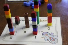 """build your own rocket"" using difft. amounts of unifix cubes"