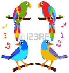 cartoon bird: A colorful vector Icons : Parrots and Birds isolated on white
