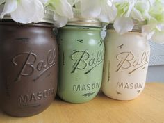 Painted and Distressed Ball Mason Jars Light by Theretroredhead2