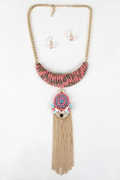 Acrylic Mosaic And Woven Plate Necklace $23.76