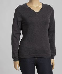 Look what I found on #zulily! Charcoal V-Neck Sweater - Plus #zulilyfinds