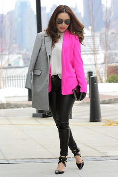 Faux leather pants, white top, bright pink blazer, black ankle strap pumps, overcoat