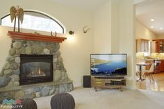 Cozy gas fireplace in main living area