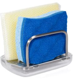 This OXO Sponge Holder gives you a handy way to store sponges or scrubbies by the kitchen sink while allowing them to dry after use.  4.5 x 2.75, pour spout, removable plastic bottom.  $10