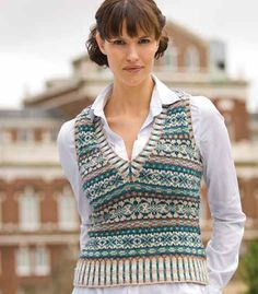Fair Isle Knitting: Ivy League Vest by Eunny Jang Knitting Daily, Lace Knitting, Knitting Stitches, Knitting Patterns Free, Knit Crochet, Knitting Ideas, Sweater Vest Outfit, Vest Outfits, Knit Vest Pattern