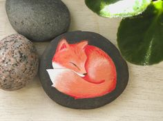 Fox Hand Painted River Rock by stickbystick on Etsy