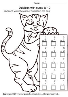 Addition worksheets with sum to 10