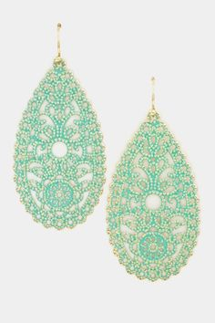 Mint Tear Drop Filigree Paint Earrings