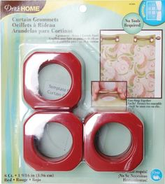 Dritz 44384 Square Grommets, Red, 1-9/16-Inch, 8-Pack by Dritz. $6.86. A template is included to help aid in placement and they can be easily removed with a screwdriver. These square curtain grommets are designed for customize window treatments and shower curtains with colorful grommets. These plastic grommets will fit rods up to 1-3/8-inch and they simply snap together, no special tools required. Includes 8 grommets per pack. Available in red color; measures 1-9/16-...