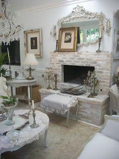 I'm so white washing my fireplace like this.  My honey will die.