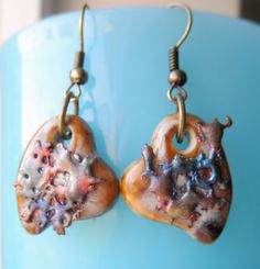 Ceramic Heart Copper Splash Earrings by HandcraftedSerenity, $14.50