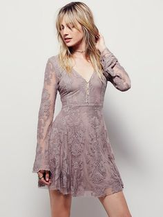 7fd06a90e1e9 Free people Reign Over Me Lace Dress in Gray (Fawn)