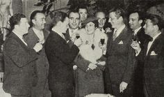 1935 Mrs. Pat O'Brien's celebration for the opening of her dress shop with guests Frank McHugh, Robert Armstrong, James Cagney, Pat O'Brien, Johnny Mack Brown, James Gleason, Frank Fay, Allen Jenkins, and Jimmy Townsend