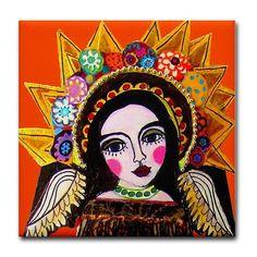 Mexican Folk Art Ceramic Tile  Orange Angel by HeatherGallerArt, $20.00