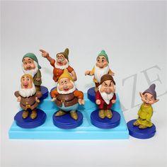 Lot of 7 Snow White SEVEN 7 DWARFS  FIGURE  Rubber Figurines Vintage  #100NEW