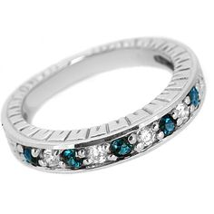 Jewelry Point - Blue White Diamond Wedding Band Antique Style Ring, $595.00 (http://www.jewelrypoint.com/blue-white-diamond-wedding-band-antique-style-ring/)