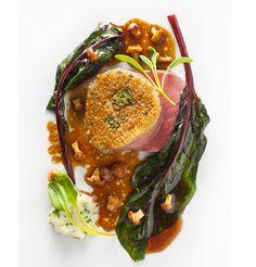 by Daniel Humm | Roasted tenderloin with bone marrow crust, swiss chard and chanterelles