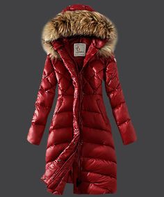 2013 New! Moncler Down Coat Women Hooded Windproof Red! Only $209.9USD