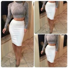 Just One Night Crop Top & Skirt Set - Very stylish outfit featuring a turtleneck crop top and a high-waist white skirt. Date night will never be the same!