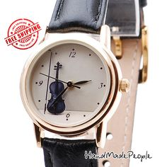 Violin Women Watch, Ladies Watch, Vintage Style Watch, Golden Case Leather Watch, Wristwatch, Gift for Her, Christmas Gift - Free Shipping by handmadepeople. Explore more products on http://handmadepeople.etsy.com