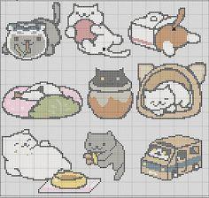 9 in 1 Neko Atsume Cross Stitch Pattern por TheSoftScientist