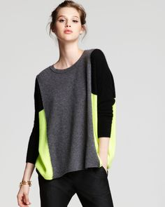 Aqua Cashmere Sweater - Lila Three Color Block Boxy Pullover | Bloomingdale's