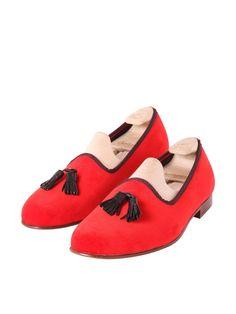 Madison Tassel Fire Brick Red Velvet - £255.00