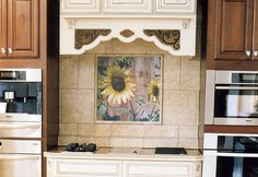 Tile Mural, Sunflower Red Barn Design, Kitchen Backsplash, Decorative Tile for Bathrooms, Trivets, Personal Gift, Red, Yellow, Green