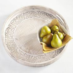 Pier 1 Imports Carved Vine Tray - Round ($90) ❤ liked on Polyvore featuring home, kitchen & dining, serveware, natural, pier 1 imports, round tray and circular tray