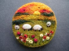 Hand Made Needle Felted Brooch/Gift   Sunset Meadow   by Tracey Dunn: