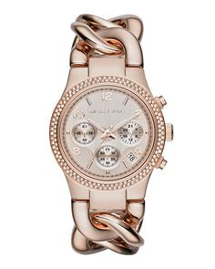 Michael Kors Women's Chronograph Runway Twist Rose Gold-Tone Stainless Steel Bracelet Watch - For Her - Jewelry & Watches - Macy's Michael Kors Rose, Outlet Michael Kors, Michael Kors Watch, Mk Handbags, Handbags Michael Kors, Leather Handbags, Marken Outlet, Jewelry Accessories, Fashion Accessories