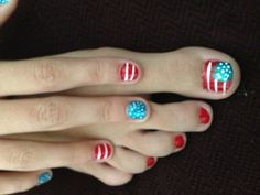 Patriotic nails--looks doable for little fingers