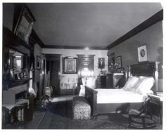 Mrs. Mary Theresa Mehegan Hill's (1846-1921) second-floor bedroom in 1922 at the James J. Hill House. It was located in the eastern wing of the house. Photograph taken looking north. The bedroom door is behind the photographer.