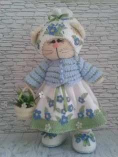 cat doll.cat doll handmade.The cat is knitted. The toy is amigurumi.kot tilda. toy tilde. crocheted crochet.cat dol