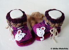 Babyschuhe Mäuse von strickliene auf DaWanda.com
