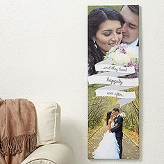 """Create lasting Wedding memories with the Forever and Always Personalized Photo Canvas Print- 12"""" x 36"""". Find the best personalized wedding gifts at PersonalizationMall.com"""
