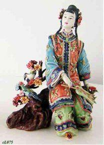 Shiwan Ceramic / Porcelain Figure Chinese Oriental Lady Joyful