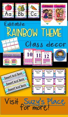 Back to School room set up is easy with this Rainbow Theme!  Everything is included from  editable name templates to character trait bunting signs!  Just print, cut & go!