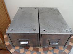 Retro and Vintage Metal desk top Index card filing by VintageFoggy