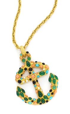 A Gold, Coral, Chrysoprase, Turquoise, Onyx and Diamond 'Anchor' Brooch/Pendant, by Van Cleef and Arpels, circa 1970. Available at FD Gallery. www.fd-inspired.com