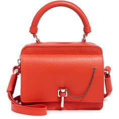 Carven - Malher Grained Leather Crossbody Bag (€560) ❤ liked on Polyvore featuring bags, handbags, shoulder bags, purses, chain shoulder bag, purse shoulder bag, fold over crossbody purse, red hand bags and chain crossbody