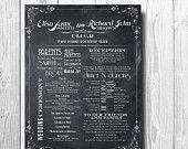 Vintage Wedding Program - Order of ceremony or menu extra large (manifesto design). $28.00, via Etsy.