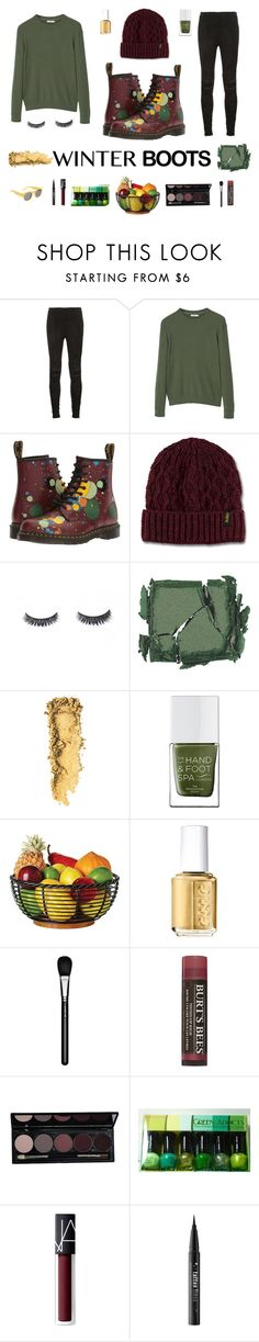 """Color Splash #1"" by skyanna-harris ❤ liked on Polyvore featuring Yves Saint Laurent, MANGO, Dr. Martens, Surratt, The Hand & Foot Spa, Essie, MAC Cosmetics, Burt's Bees, NARS Cosmetics and Kat Von D"